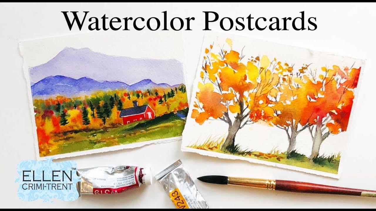 Download EASY watercolor Autumn Postcards