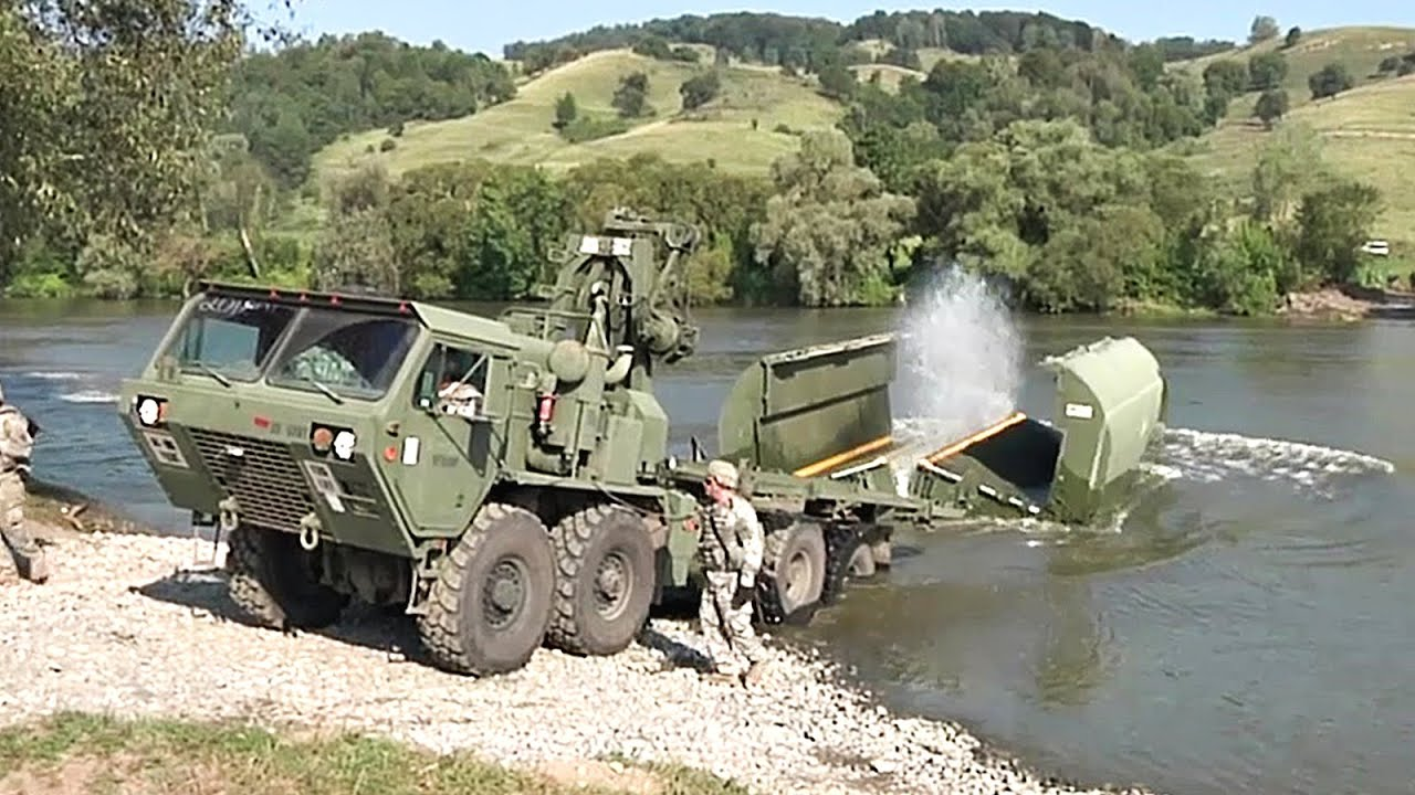 Soldiers Construct Floating Bridge Improved Ribbon Bridge