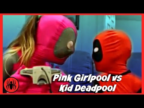 Thumbnail: Pink Girlpool vs Kid Deadpool let's play video games superheroes fun real life comic SuperHerokids
