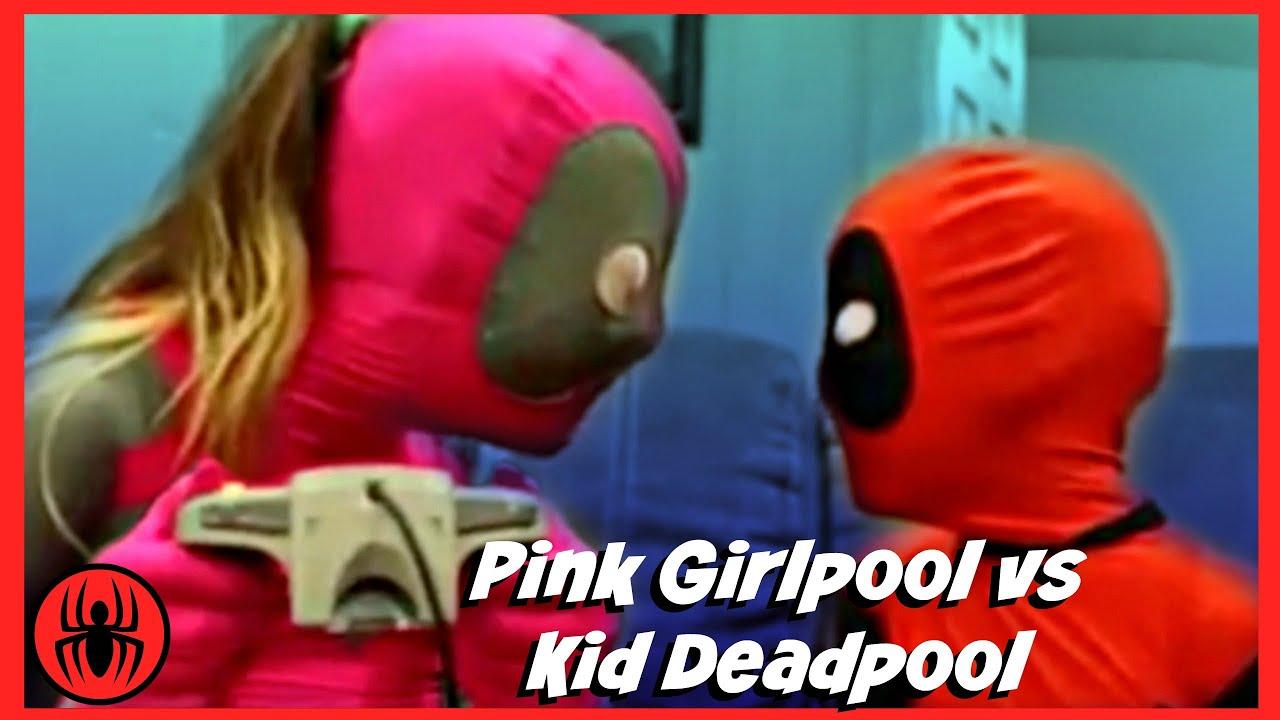 Download Pink Girlpool vs Kid Deadpool let's play video games superheroes fun real life comic SuperHerokids
