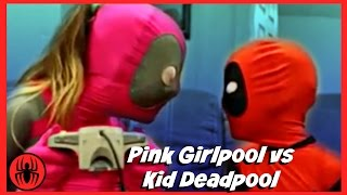 Pink Girlpool vs Kid Deadpool let's play video games superheroes fun real life comic SuperHerokids