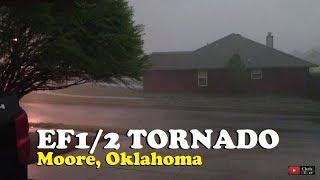 EF1/2 tornado blowing through Moore, Oklahoma (driveway video) March 25, 2015