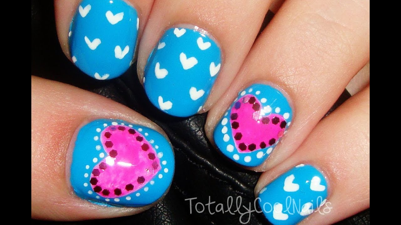 Simple Pink and Blue Valentine\'s Day Nails (Short Nails) - YouTube