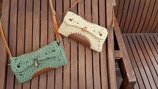 [ENG](코바늘가방)화려한 부활(엣지백)/How to crochet an edge bag with leather & yarn