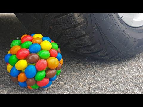 Crushing Crunchy & Soft Things By Car! EXPERIMENT CAR Vs M&M BALL