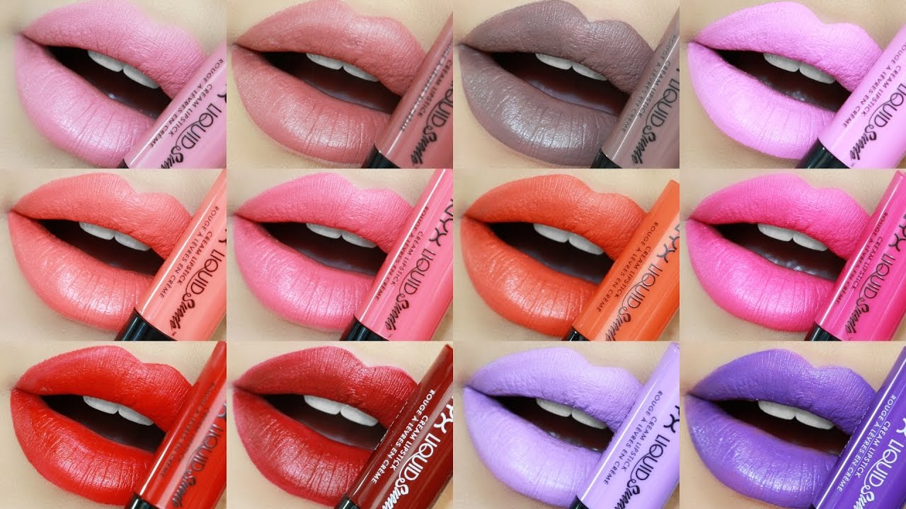Nyx Liquid Suede Lipstick Swatches Review All 24 Shades Youtube