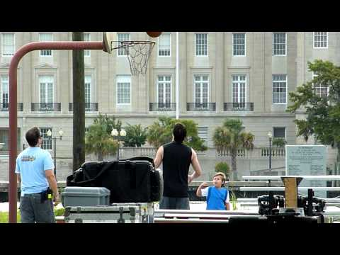 James Lafferty & Jackson Brundage shooting baskets