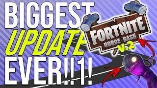 FORTNITE | BIGGEST UPDATE EVER! HORDE BASH V.2, NEW ENEMIES, RE-WORKS!