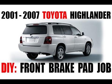 2001 2007 toyota highlander front brake pad job youtube. Black Bedroom Furniture Sets. Home Design Ideas