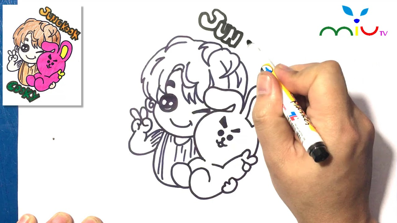 How To Draw Jungkook And Cooky Bts Bt21 Miutv Draw For Kids