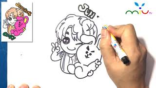 How to Draw Jungkook and Cooky BTS BT21 ❤ MiuTV Draw for Kids