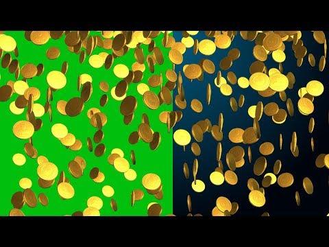 gold coins falling  bg green screen video