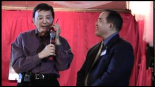 James Hong receives phone call during his speech