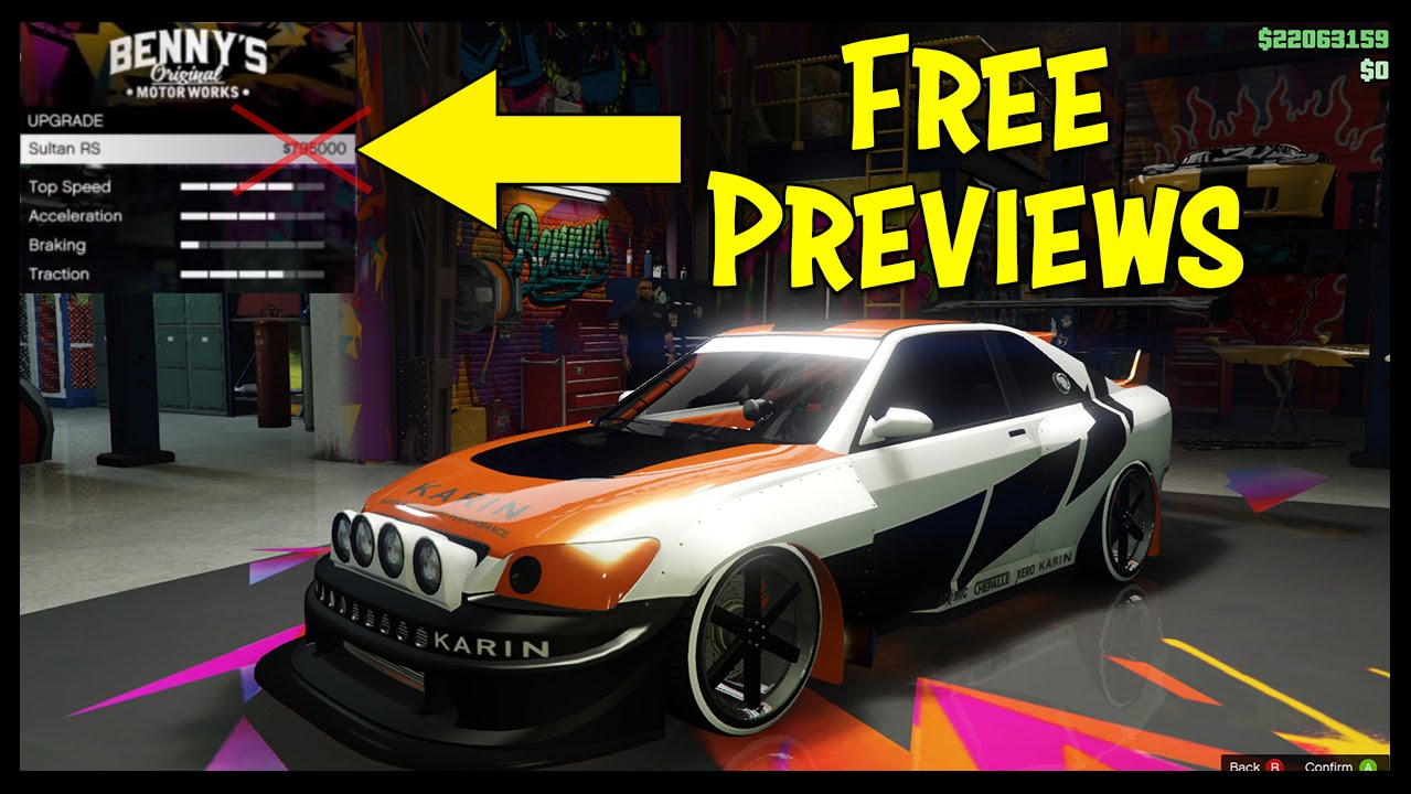 How to preview all benny s customization for free on any car in gta online youtube