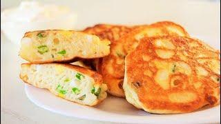Очень Вкусные и Пышные  ОЛАДЬИ С ЗЕЛЕНЫМ ЛУКОМ И ЯЙЦОМ | Ленивые Пирожки