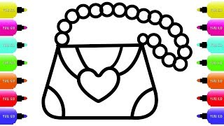 Coloring Pages For Girls - Girls Bag Drawing And Coloring Pages For Kids