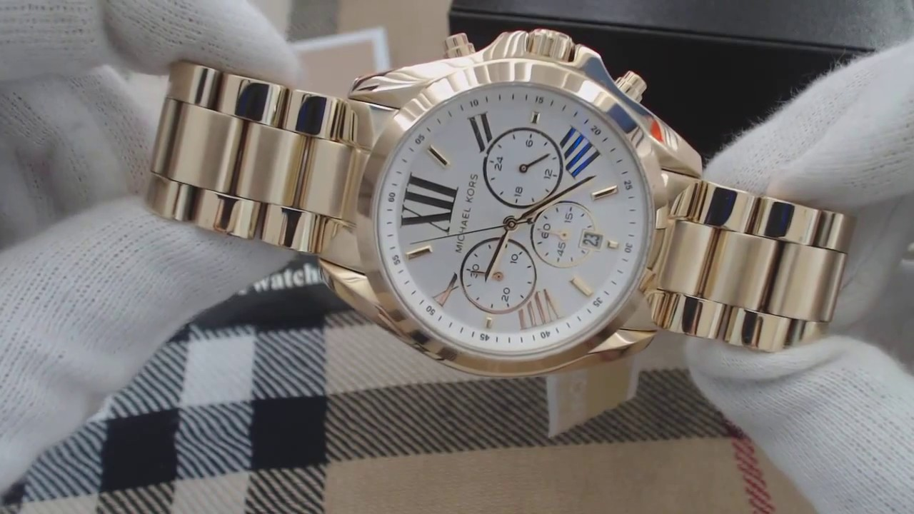933f9d04573d Women s Michael Kors Bradshaw Chronograph Gold Watch MK6266 - YouTube
