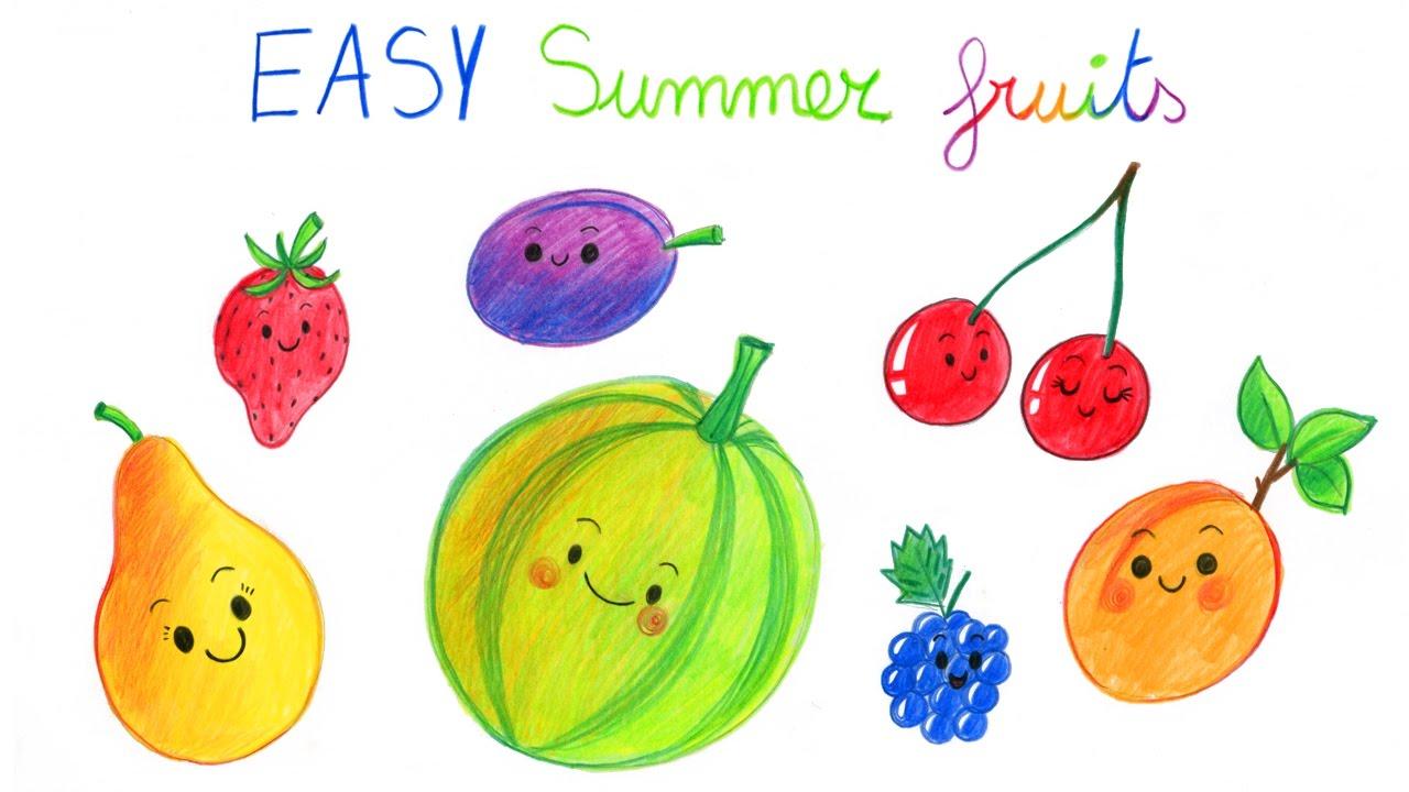 How to draw summer fruits part 1 comment dessiner - Dessiner un fruit ...