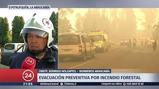 Decretan evacuación preventiva en Pitrufquén por incendio forestal en Loica
