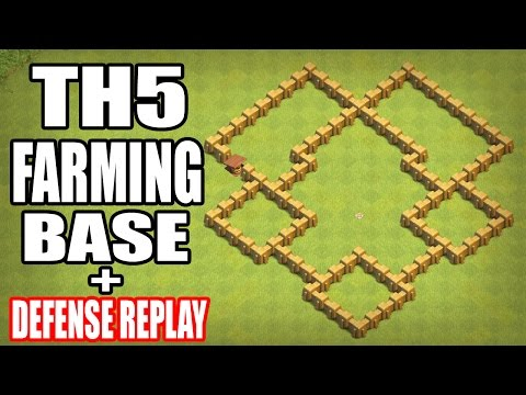 Clash of Clans | TH5 FARMING BASE 2017 WITH DEFENSE REPLAY | BASE COC TH 5