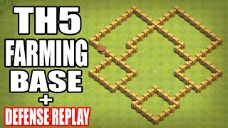 Clash of Clans | TH5 FARMING BASE 2017 WITH DEFENSE REPLAY | B…