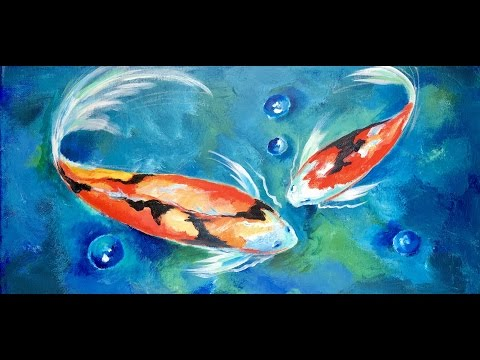 How to Paint Two Koi Fish in a Blue Lagoon by Ginger Cook a Beginner Acrylic Painting Tutorial