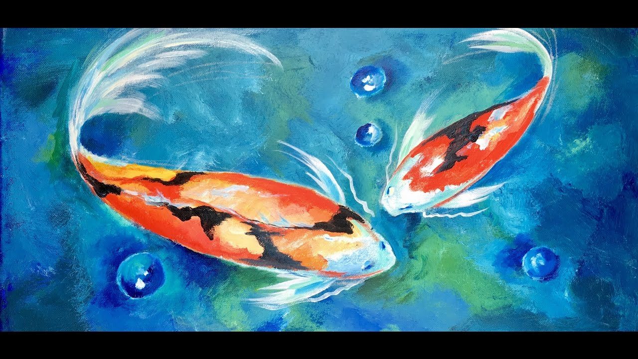 How To Paint Two Koi Fish In A Blue Lagoon By Ginger Cook Beginner Acrylic Painting Tutorial