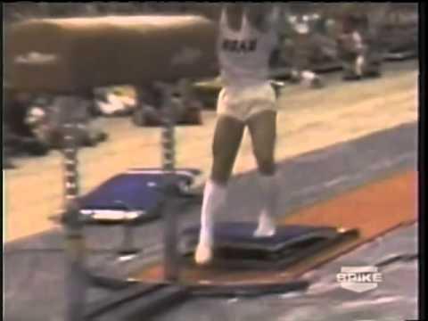 Brian Meeker, a gymnast accidently crashes into the horse   fail gymnastics   gymnastics fails