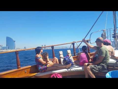 A boat trip along the coast of Barcelona