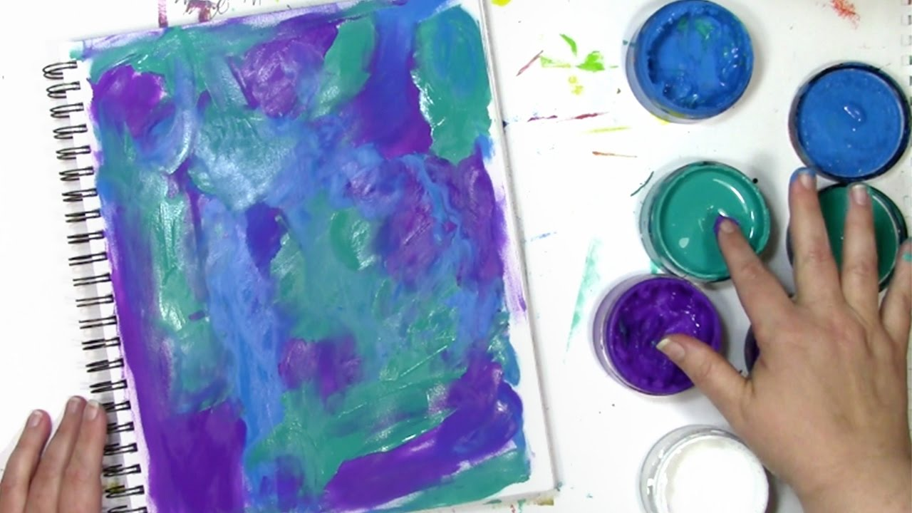 Finger Painting With An Art Journal Background With