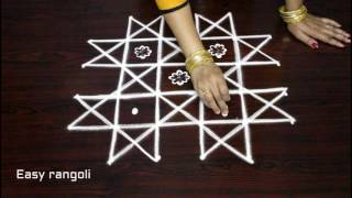 beginners kolam designs with 6x4 dots - chukkala muggulu designs - easy rangoli designs