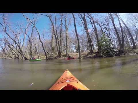 Kayaking down the Delaware and Raritan Canal in Princeton, New Jersey