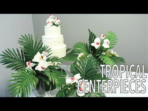 Tropical Leaf Centerpieces | Hawaiian Party Decorations | Artificial Flower Arrangement