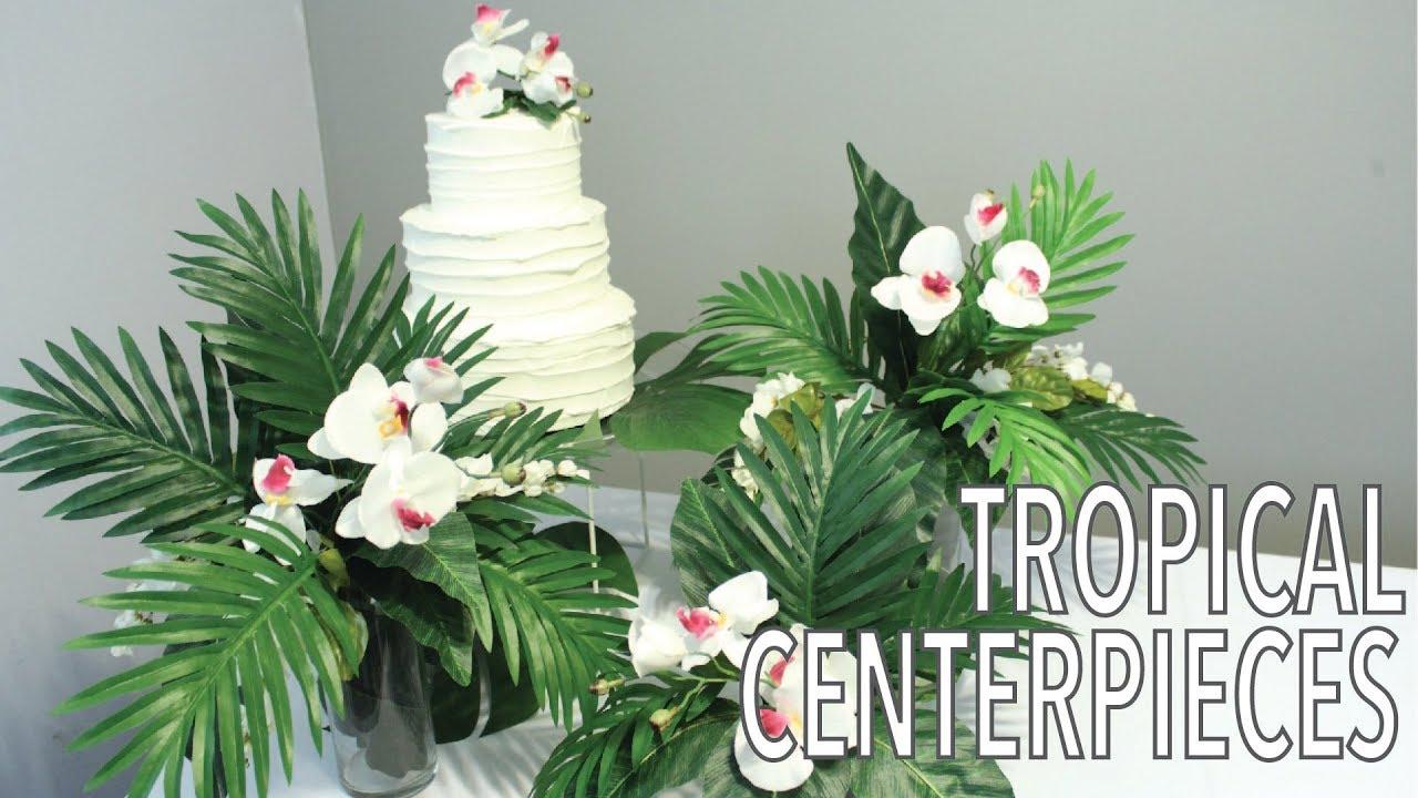 Tropical Leaf Centerpieces Hawaiian Party Decorations Artificial Flower Arrangement Youtube