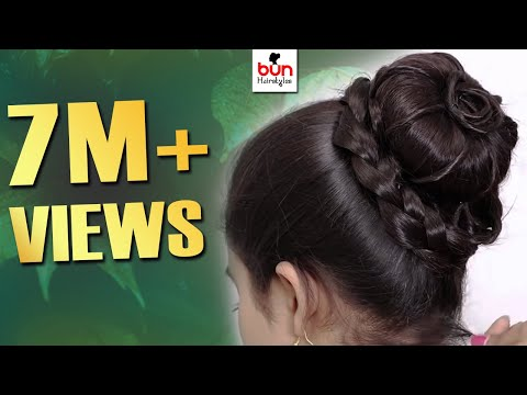 easy juda hairstyles for gown, lehenga, & saree || new hairstyle for girls || trending hairstyles thumbnail