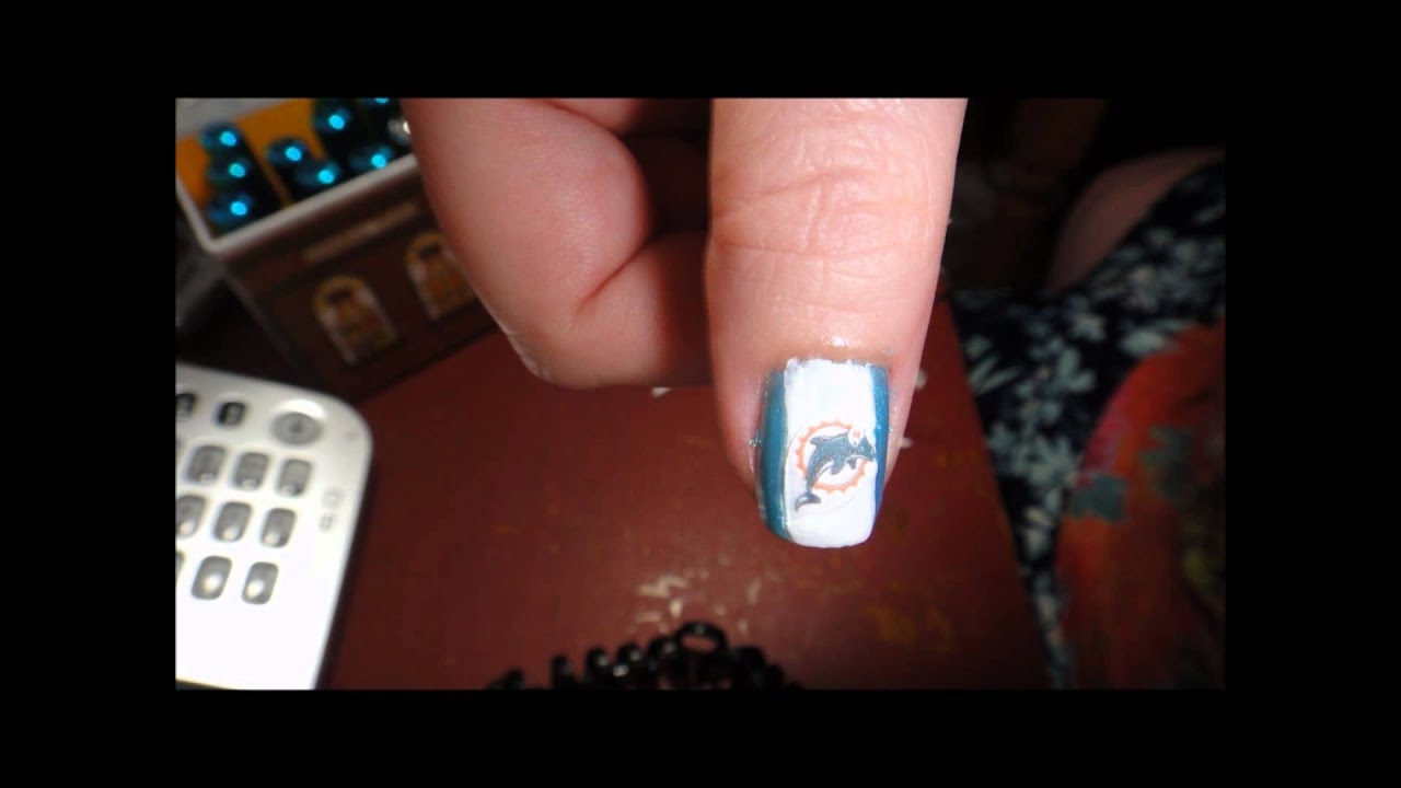 NFL Sports Team Nail Design - Steelers, Dolphins & NFL BY Cre8 - YouTube