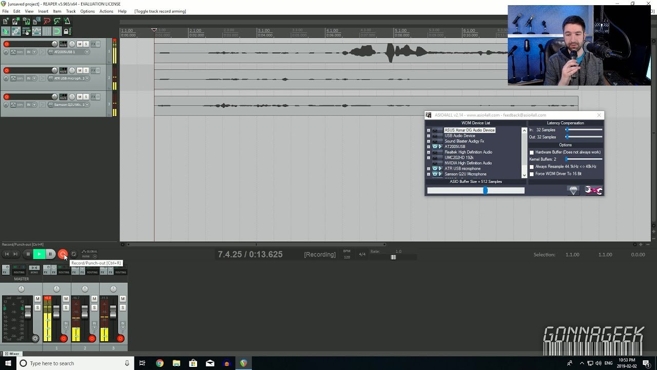 how to multi track record multiple usb microphones using asio4all and reaper youtube. Black Bedroom Furniture Sets. Home Design Ideas
