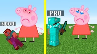 Minecraft Noob vs. Pro : Angry PEPPA PIG challenge - Minecraft Battle