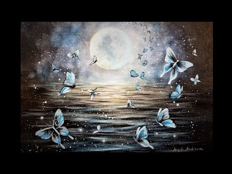 Easy Moonlight Butterflies Acrylic Painting LIVE Instruction