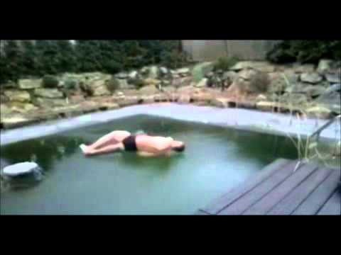 fail jump into frozen swimming pool youtube