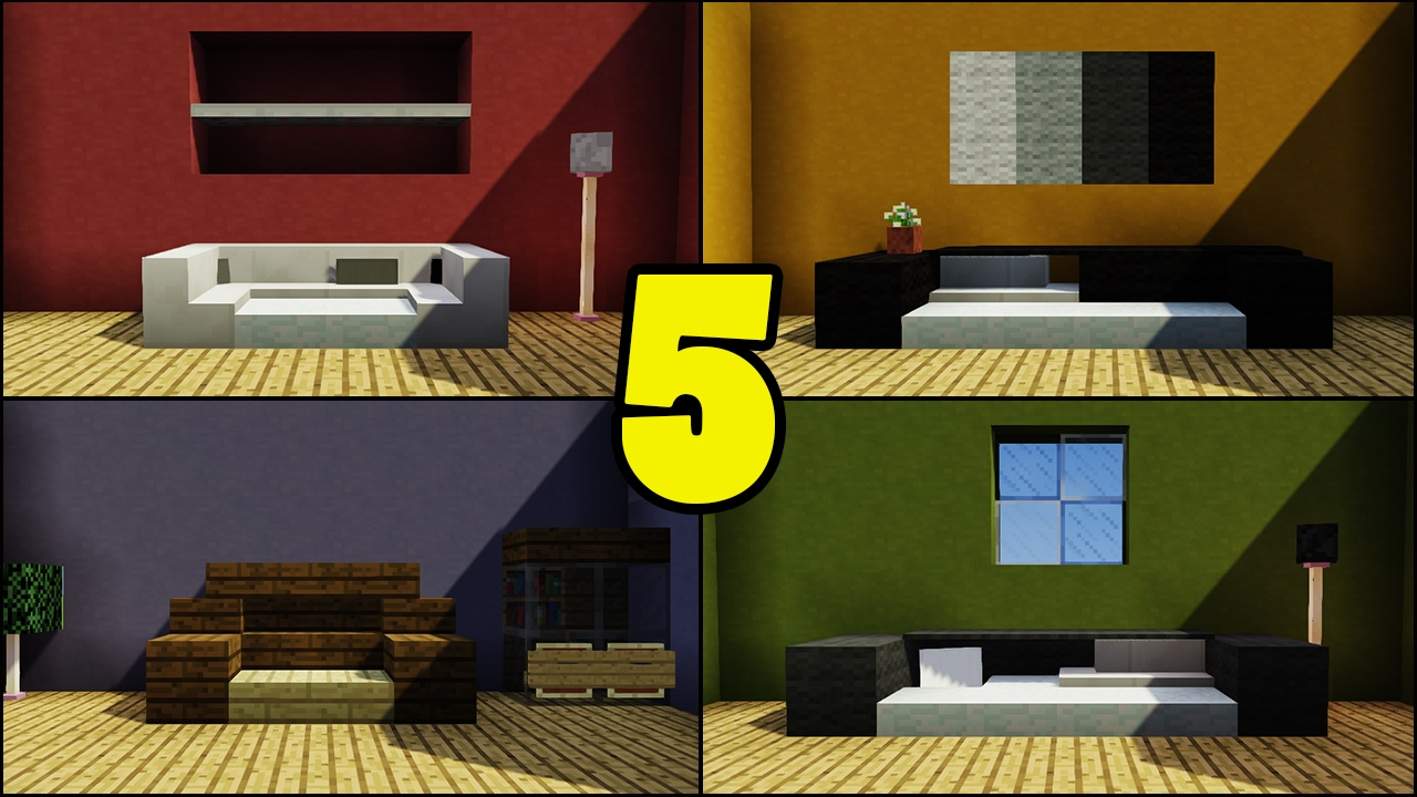 Top 5 Couch Sofa Designs In Minecraft Youtube