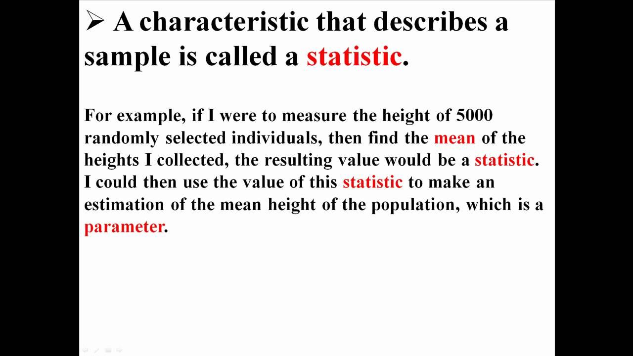 Parameters Statistics And Sampling Error Youtube
