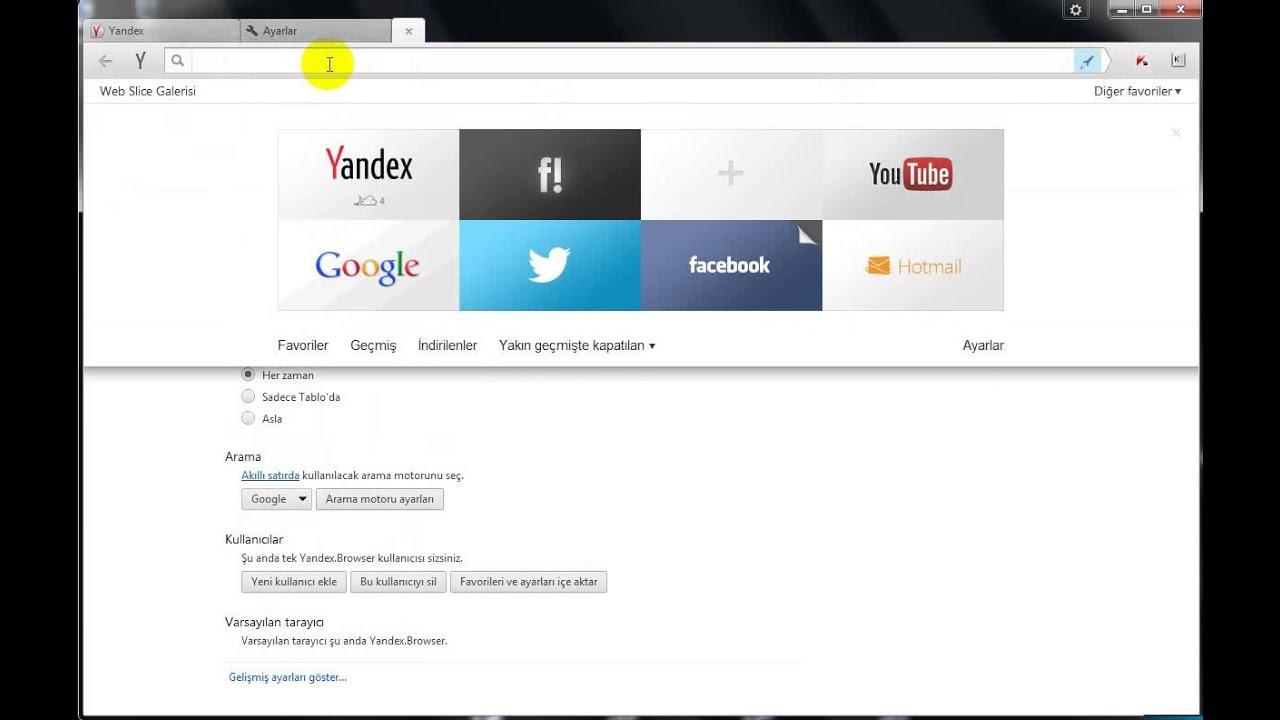 Yandex Ayarlar - YouTube