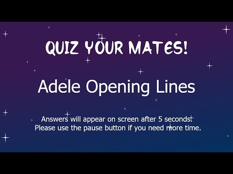 Adele Opening Lines Quiz, With Answers