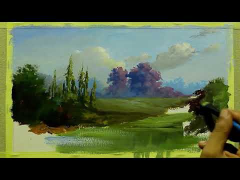 Painting Landscape    Oil On Paper By Yasser Fayad