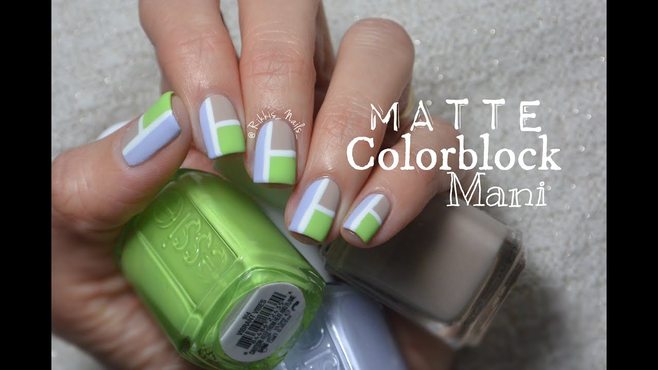 How to: Matte Colorblock Nails using Essie Nail Polish! - YouTube