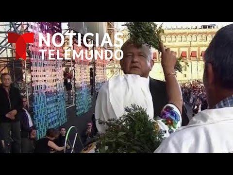 """AMLO recibe el """"Bastón de Mando"""" en un acto indígena"""