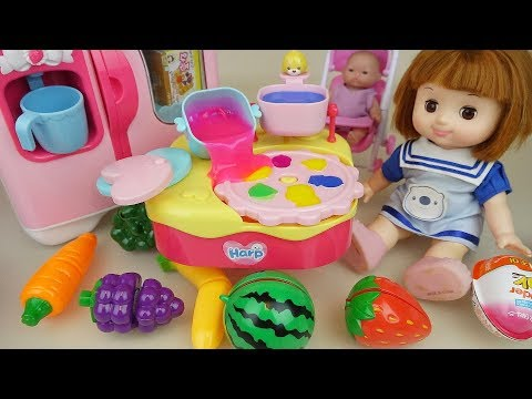 Baby doll and fruit jelly maker toys and kitchen play