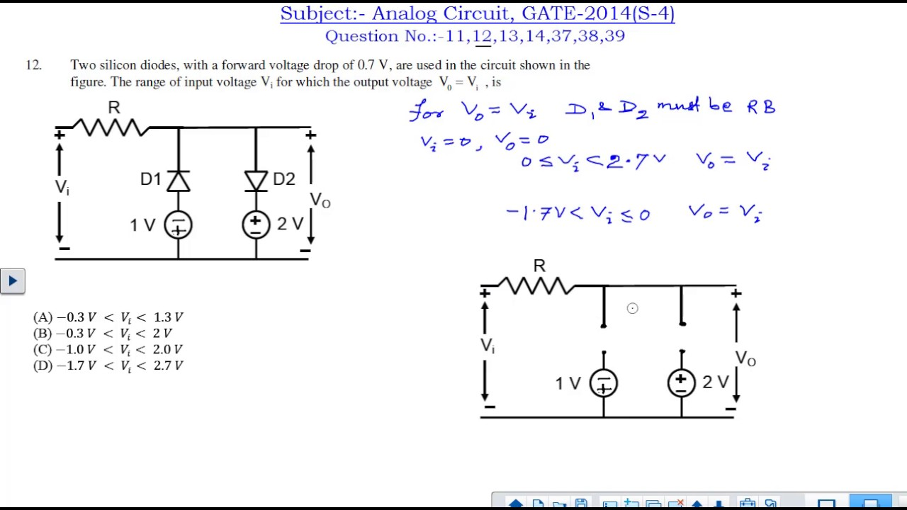 Ec Analog Circuit All Questions And Answers Gate 2014 Set 4 Youtube For