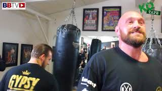BOOM!! TYSON FURY SMASHES THE HEAVY-BAG AT HATTON'S GYM